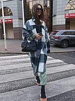 Длинное женское пальто рубашка из кашемира в клетку в фасоне оверсайз 71PA295, фото 1
