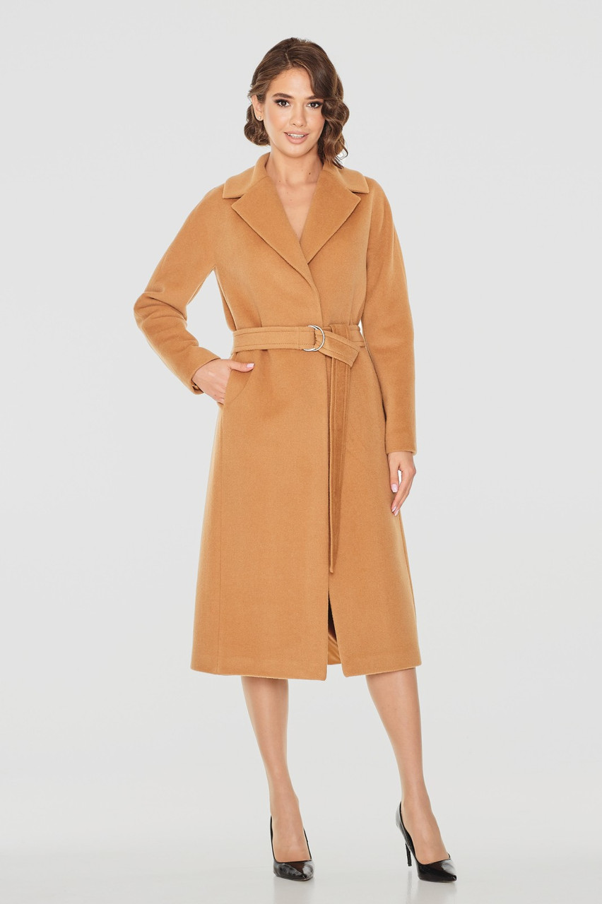 Класичне жіноче демісезонне пальто пісочного кольору Д 817