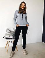 Женский спортивный костюм с начесом из трехнитки с худи и черными штанами (р. 42-44) 22SP1104, фото 1