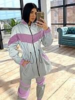Женский спортивный костюм со светоотражающей удлиненной ветровкой и штанами джоггерами (р. 42-44) 66SP1105Q, фото 1