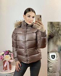 Куртка женская укороченная, зимняя с мехом (размер M)