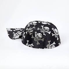 Шляпа Пиратская бандана с черепами детская в серебре