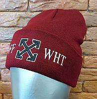 Демисезонная шапка лопатка с вышивкой и подворотом 12GO253, фото 1