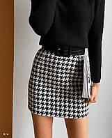 Женская теплая юбка черно - белая в принт гусиная лапка 77JU442, фото 1