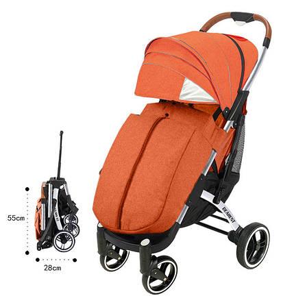 Прогулочная Коляска Dearest PRO Premium Оранжевая, рама серебро, фото 2