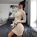 Платье гольф из трикотажа рубчик выше колена с длинными рукавами митенками (р. 42-44) 83py1627, фото 2