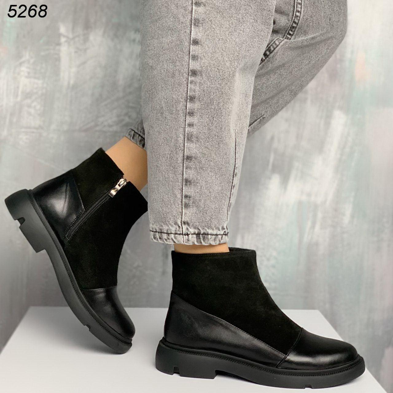 Женские демисезонные ботинки на низком ходу из натуральной кожи с замшевыми вставками BO5268