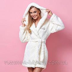 Халат жіночий теплий Hill молочного кольору. ТМ L&L Collection. S. M.