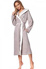 Халат жіночий велюр, колір мокко. ТМ L&L Collection. XXL