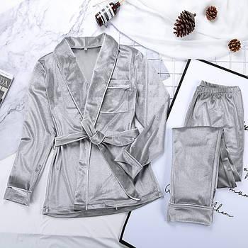 Пижама женская бархатная теплая с длинным рукавом. Комплект велюровый для дома, сна, р. L Серый