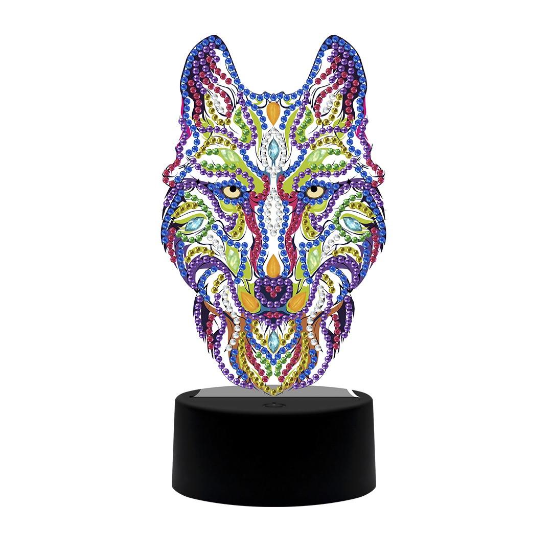 Набор для творчества Crystal art светодиодный светильник с алмазной мозаикой Волк (MI_DP05)