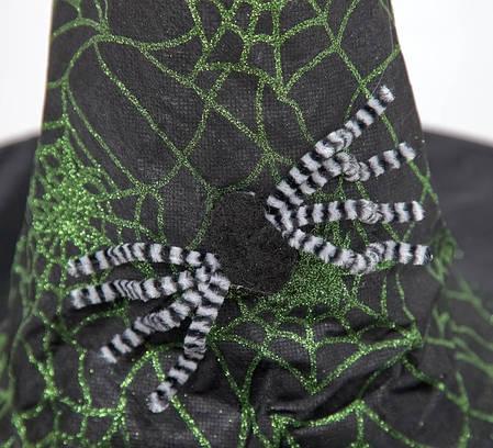 Шляпа Ведьмы с двумя пауками зелёная, фото 2