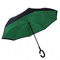 Ветрозащитный зонт Up-Brella антизонт Зонт обратного сложения (Темно-зеленый)