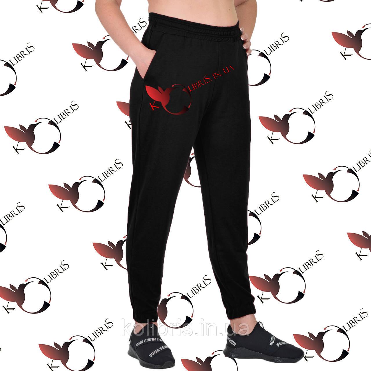Женские брюки на резинке размеры от 50 до 58 трехнитка на флисе черного цвета