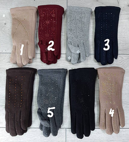 Женские перчатки СМАРТФОН трикотажные внутри мех зима, фото 2