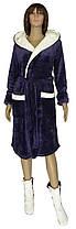 Халат жіночий махровий з подвійним капюшоном і махрові чобітки 19079 18205-1 вельсофт Лілово-молочний