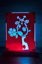 Декоративный настольный ночник Жирафик, теневой светильник, несколько подсветок (на пульте)