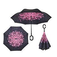 Вітрозахисний парасолька Up-Brella антизонт Парасолька зворотного складання (Рожеві Квіточки)