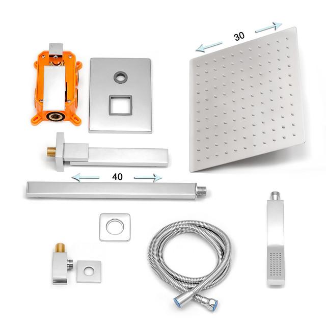 Душовий набір системи для прихованого монтажу SSD-08 в класичному хромовом кольорі.