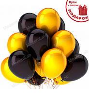 """Воздушные шары """"Set"""" набор - 14 шт., Италия, Ø - 28 см., цвет - золото с черным (металлик)"""