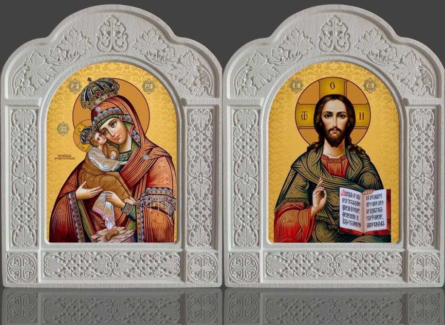 Пропонуємо ікони Пара Почаєвська в різьбленому кіоті з ясена 22х28см