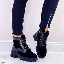 Женские ботинки ЗИМА черные натуральная замша + кожа