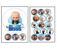 Набор вафельных картинок Baby Boss для торта и капкейков (2 листа А4) + декор-гель (100г) (5007)