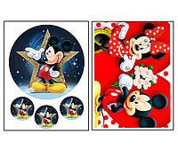 Набор вафельных картинок Микки Маус для торта и капкейков (2 листа А4) + декор-гель (100г) (5014)