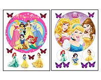 Набор вафельных картинок Принцессы Диснея для торта и капкейков (2 листа А4) + декор-гель (100г) (5016)