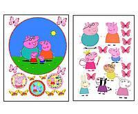 Набор вафельных картинок Свинка Пеппа для торта и капкейков (2 листа А4) + декор-гель (100г) (5017)
