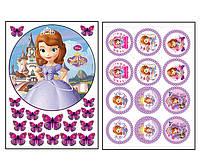 Набор вафельных картинок София Прекрасная для торта и капкейков (2 листа А4) + декор-гель (100г) (5018)