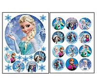 Набор вафельных картинок Холодное сердце для торта и капкейков (2 листа А4) + декор-гель (100г) (5021)
