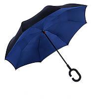 Вітрозахисний парасолька Up-Brella антизонт Парасолька зворотного складання (Темно-синій )