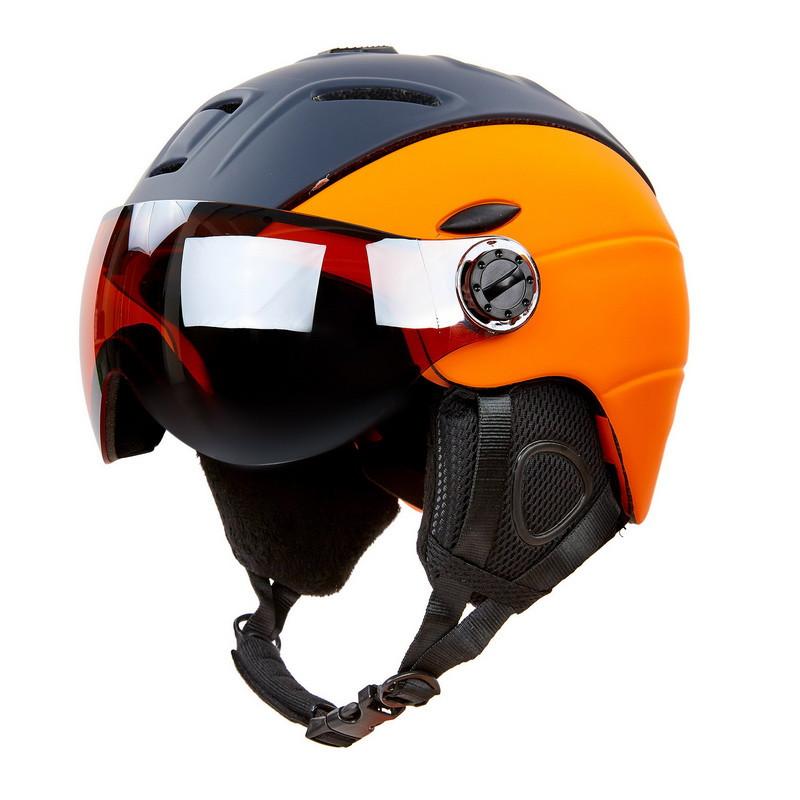 Шлем горнолыжный с визором и механизмом регулировки MOON MS-6296 черно-оранжевый М (55-58)