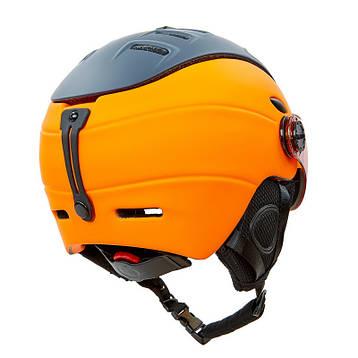 Шлем горнолыжный с визором и механизмом регулировки MOON MS-6296 черно-оранжевый М (55-58), фото 2