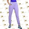 Спортивные утепленные штанишки с накаткой-печатью трехнитка на флисе цвет лиловый, фото 2