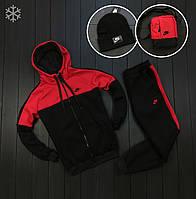 Спортивный костюм мужской ЗИМНИЙ Nike (Найк) на флисе до -25*С черно-красный | Комплект теплый | ЛЮКС качества