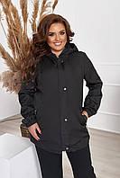 Женская ветровка батальная удлиненная с капюшоном черного цвета