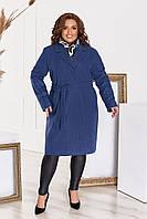 Пальто женское кашемировое большого размера с подкладкой и поясом
