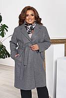 Пальто женское кашемировое батальное с подкладкой и поясом серое