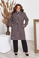 Пальто женское стильное кашемировое батальное с поясом Пудра