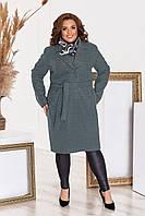 Пальто женское стильное кашемировое батальное с поясом темно-зеленое