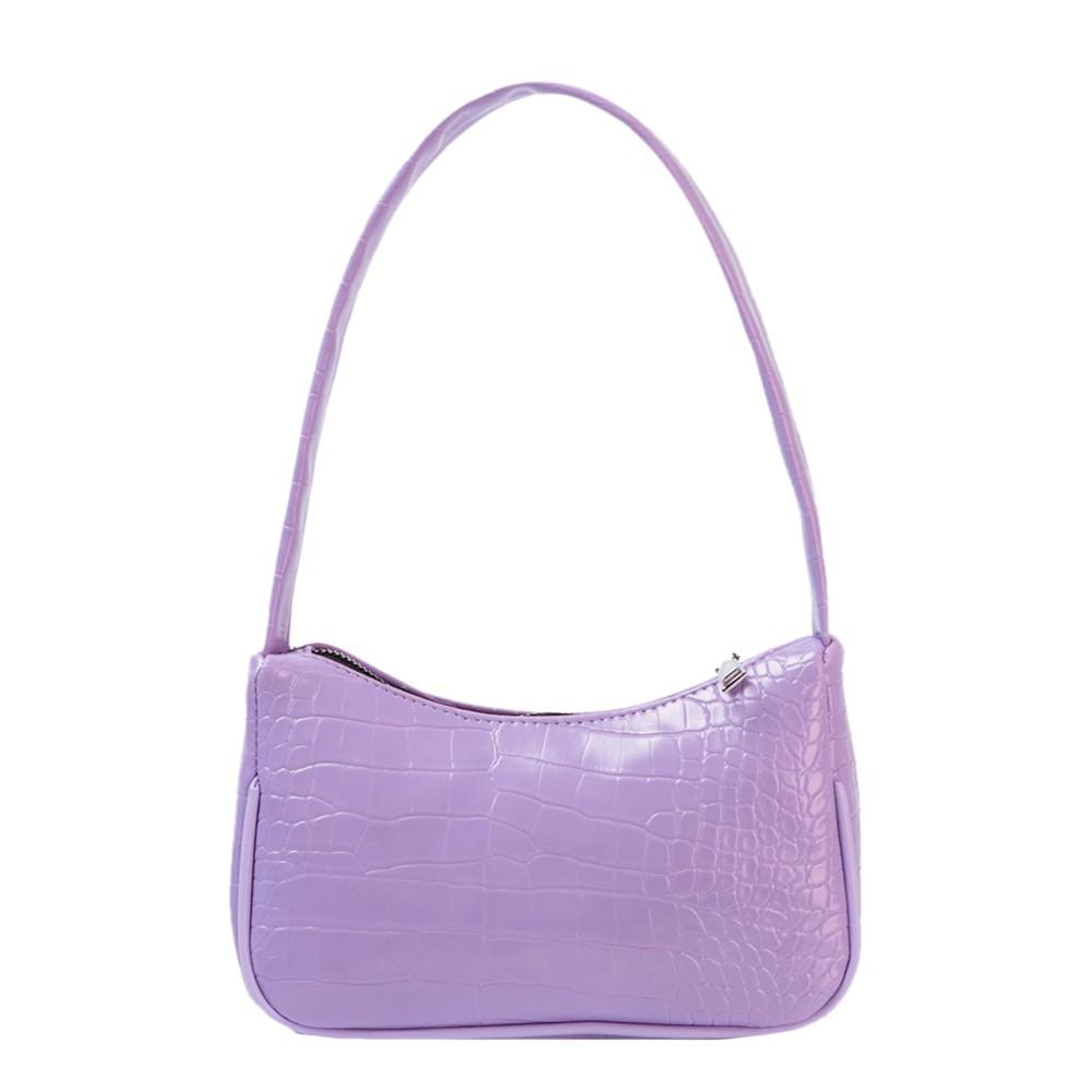 Жіноча сумочка човник з крокодила в лавандовом кольорі