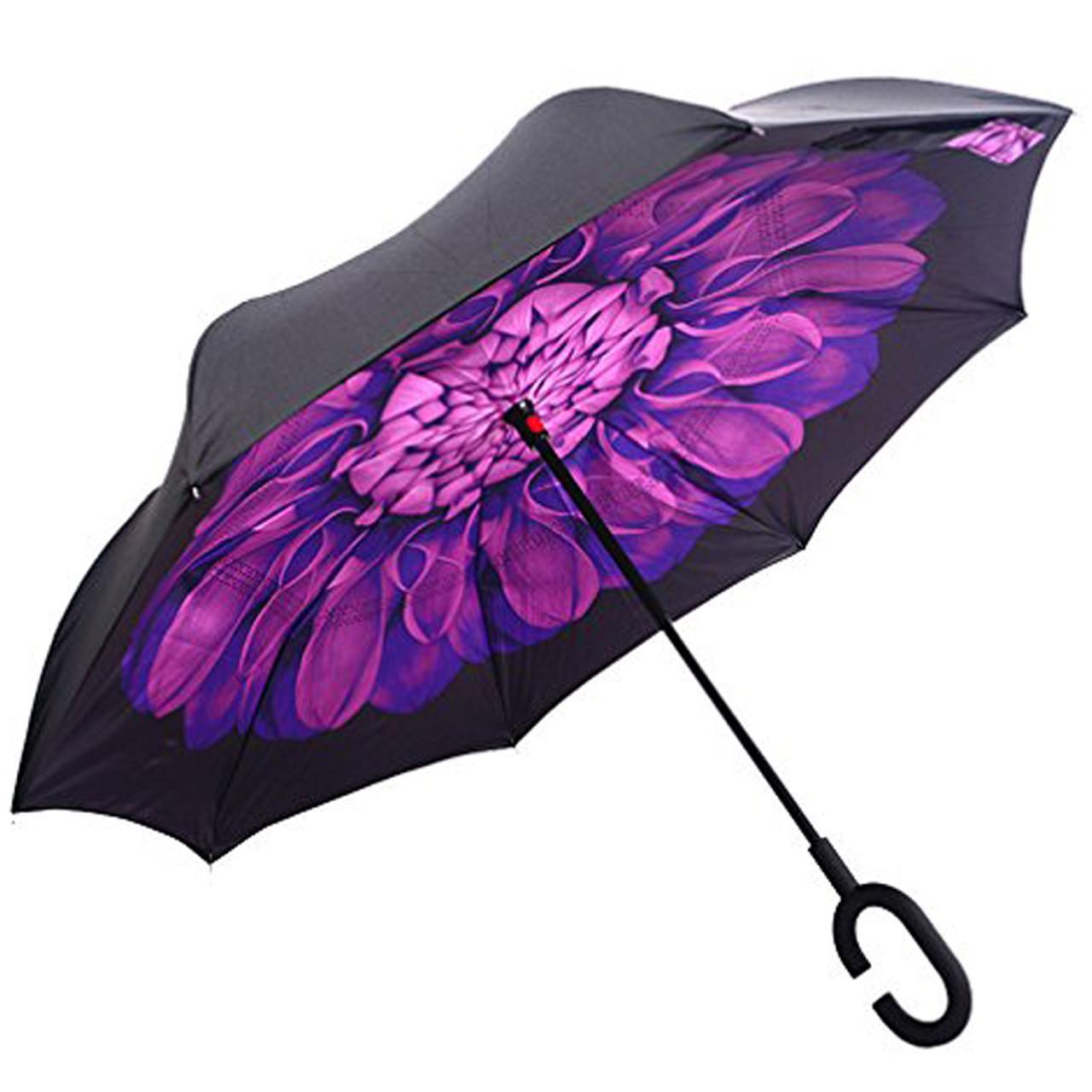Ветрозащитный зонт Up-Brella антизонт Зонт обратного сложения (Фиолетовый цветок)