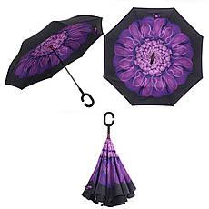 Ветрозащитный зонт Up-Brella антизонт Зонт обратного сложения (Фиолетовый цветок), фото 2