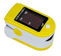 Пульсоксиметр на палец JZK-302 Желтый, пульсометр для измерения сердечного ритма и сатурации