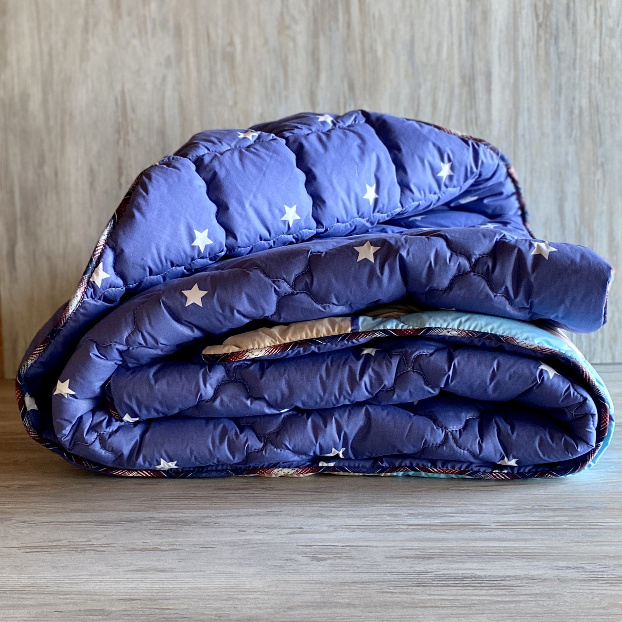 "Одеяло на овчине ""ODA"" Размер 200*220 см   Ковдра вовняна . Стеганое Евро одеяло, чехол 100% Хлопок"