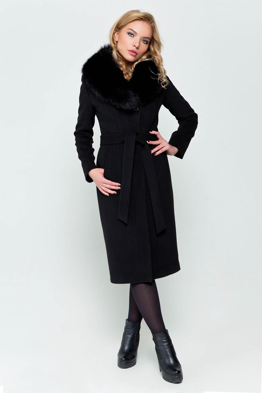 Женское кашемировое пальто с натуральным меховым воротником с 42 по 48 размер
