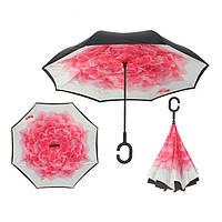 Вітрозахисний парасолька Up-Brella антизонт Парасолька зворотного складання (Рожева квітка)