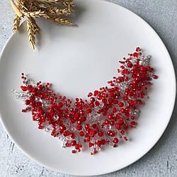 """Веточка - венок """"Leddi Red 2"""" ручной работы с хрусталем в красно-белом цвете."""